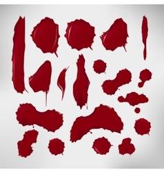 Realistic blood drops set of vector image