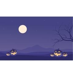 Scenery halloween pumpkins and moon vector