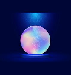 3d realistic blue pedestal with vibrant fluid vector