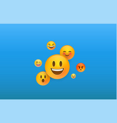3d yellow emoji face icons on blue background vector