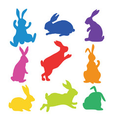 9 silhouettes of bunnies vector image