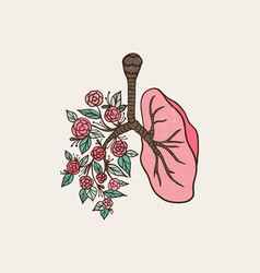 Abstract floral lungs leaves print anatomical vector