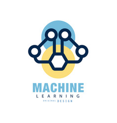 abstract logo design of machine learning concept vector image