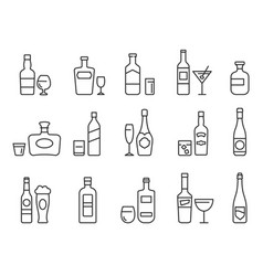 alcohol drinks line icons outline bottles and vector image