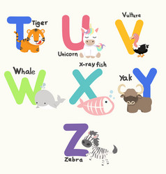 Animal alphabets for children from t to z vector