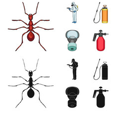 Ant staff in overalls and equipment cartoonblack vector