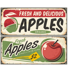 Apples retro signs vector