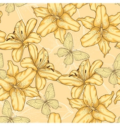 background with yellow lilies and butterflies vector image