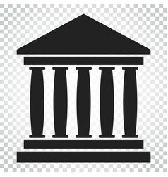 bank building icon in flat style museum on vector image