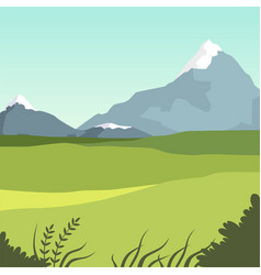 Beautiful valley and mountains green summer vector