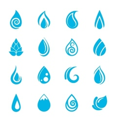 Blue Water Drops Icons vector