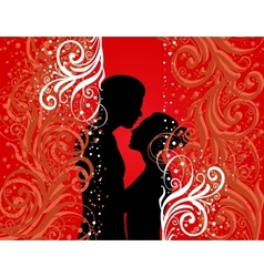 Boy and girl on colour background vector
