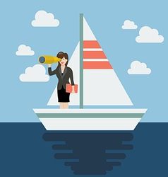 Business woman sailing and looking for future vector