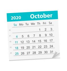 Calendar sheet for month october 2020 vector