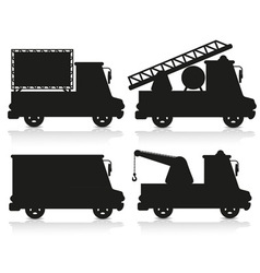 car icon set black silhouette vector image