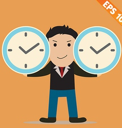 Cartoon Businessman with time management vector