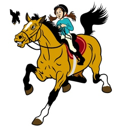 cartoon girl riding horse vector image