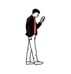 Cartoon man looking at smartphone screen - side vector