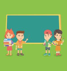 Caucasian classmates standing near the blackboard vector