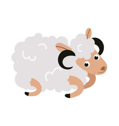 Christmas sheep cartoon character flat greeting vector