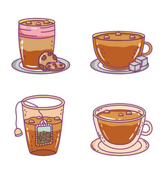 coffee and tea time sketch flat design vector image
