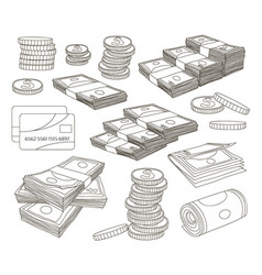 collection of money set vector image