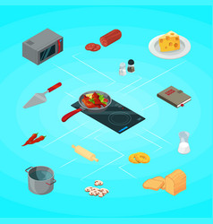 cooking food isometric concept vector image