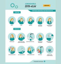 Coronavirus 2019-ncov symptoms and prevention tips vector