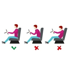 Correct and bad sitting postures for driver vector