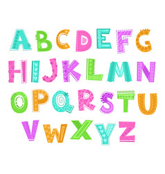 cute decorative funny childish alphabet vector image