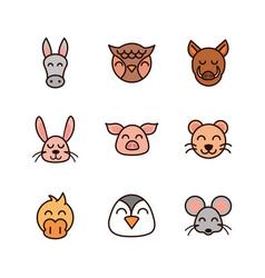 Cute face animals cartoon icons set vector