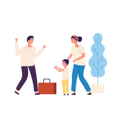 dad is coming home from work happy family vector image