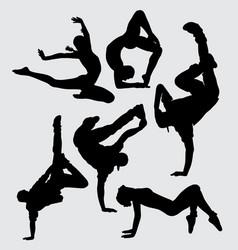 dance aerobic silhouette vector image