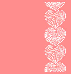 decorative vertical border from white hearts vector image