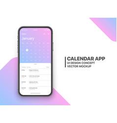 Design calendar app ui ux concept vector