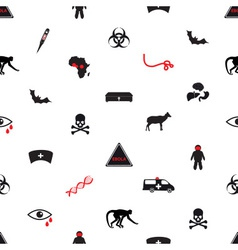Ebola disease icons seamless white pattern eps10 vector