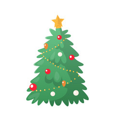 Fir-tree decoration with colorful balls vector