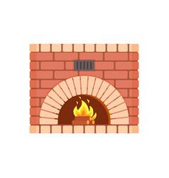 Fireplace of fireproof brick arch hearth brickwork vector