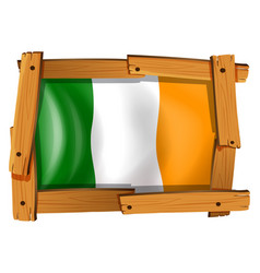 Flag ireland in wooden frame vector