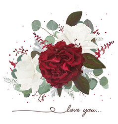 Floral bouquet design with garden red white roses vector