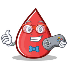 Gamer blood drop cartoon mascot character vector