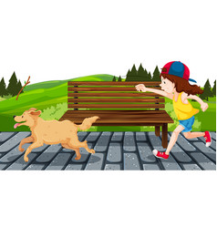 girl with dog in park vector image