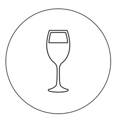glass of wine icon black color in circle isolated vector image