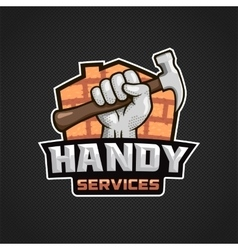 Handy services logo hand hammer vector image