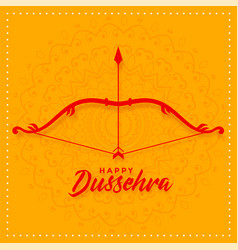 Happy dussehra festival card design with bow and vector