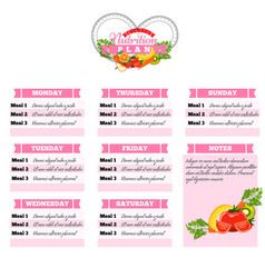 Healthy diet planning healthy food and weekly vector