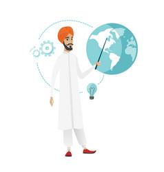 Hindu businessman pointing at a globe vector