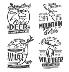 hunting club pub bar isolated logo elk deer vector image