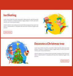ice skating and decorate christmas tree posters vector image