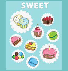 Icons on the theme of sweets cake icons vector